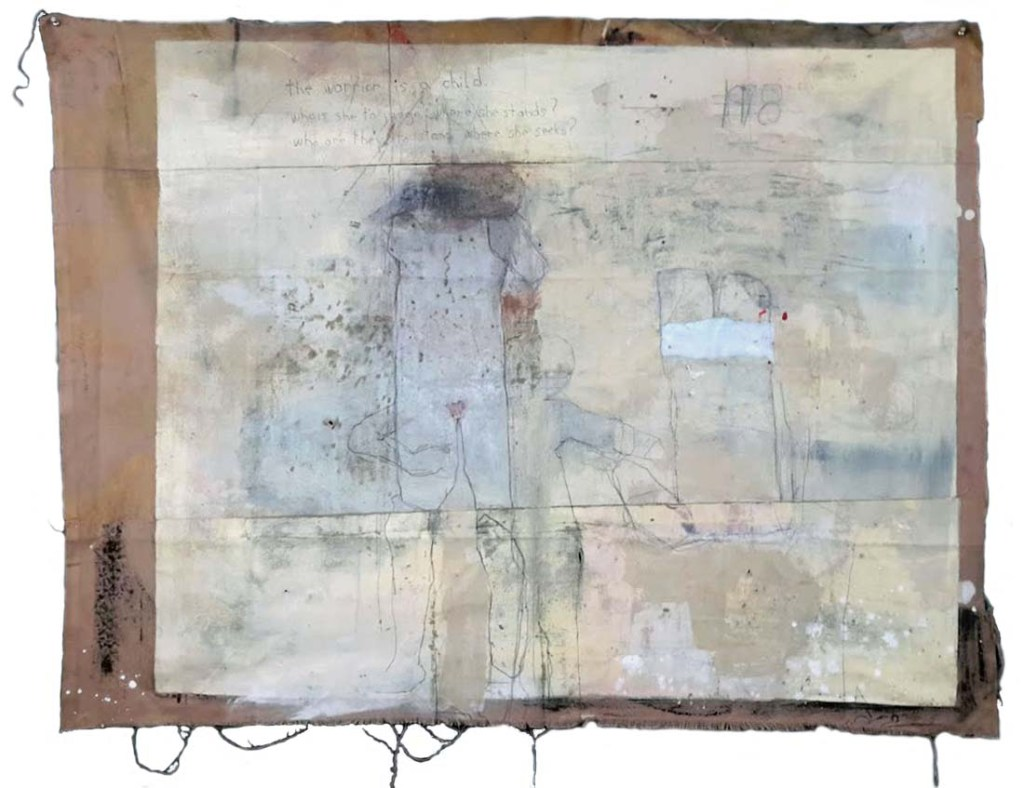 1978, 48″ x 65″, cotton, ink, charcoal, graphite, thread, paper, latex, oil, unstretched cotton