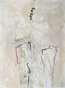 """She Walks, Dreaming in Love I, Ink, graphite, charcoal, pigment paper, 30"""" x 22"""""""